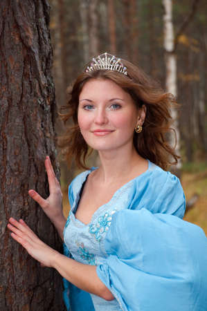 Very beautiful girl in medieval dress in autumn wood Stock Photo - 8074061