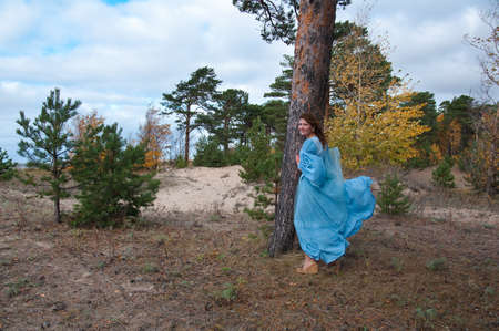 Very beautiful girl in medieval dress. strong wind Stock Photo - 8074099