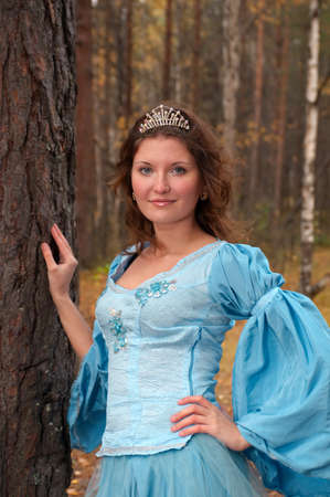 Very beautiful girl in medieval dress in autumn wood Stock Photo - 8167117