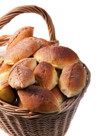Basket full of pasties isolated  on white photo