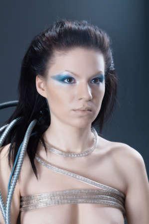 portrait of fantasy cyborg girl.Beautiful cyber woman photo