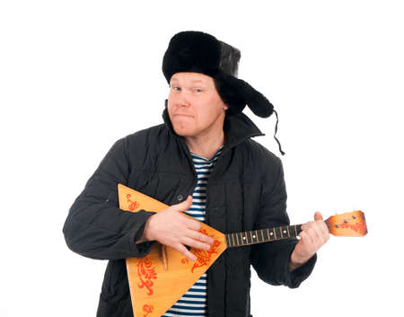 russian man: Russian man with balalaika,red-neck.isolated on white background