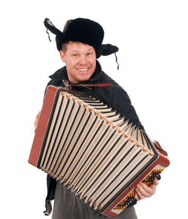 russian man: Russian man with accordion,red-neck.isolated on white background