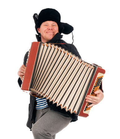 playing folk: Russian man with accordion,redneck.isolated on white background  Stock Photo