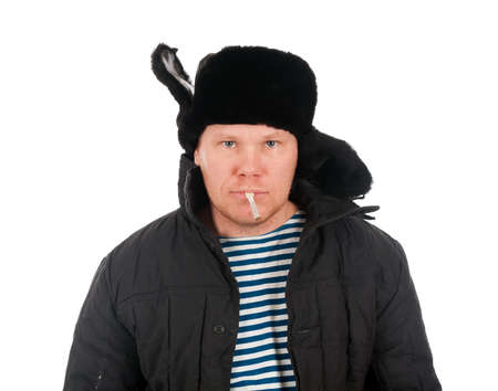 russian man: Russian man in winter fur cap  ,red-neck.isolated on white background