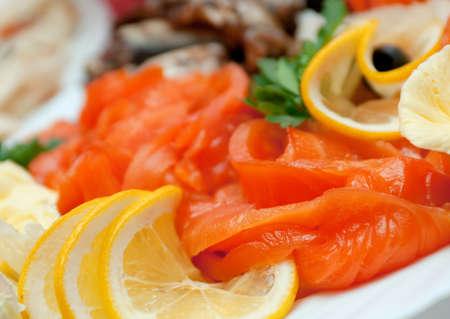 halibut: Seafood arrangement, salmon, halibut.