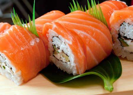 Japanese sushi  traditional japanese food.Roll made of salmon photo