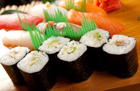 Japanese sushi  traditional japanese food.Roll made of Smoked fish Stock Photo - 9528548