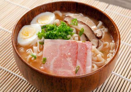 delicious miso ramen. japanese soup photo