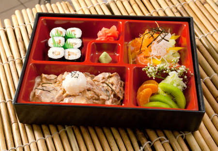 Japanese Bento Lunch .box of fast food with with pork photo