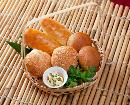 Bread in braided basket photo