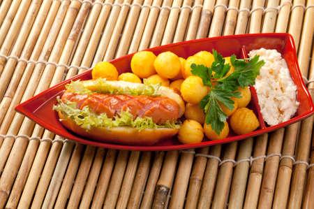 Hot Dog.box of fast food photo