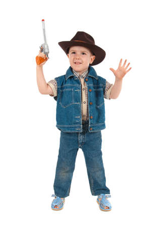 little boy wearing a cowboy hat a over white background photo