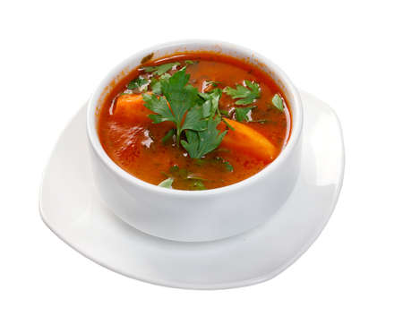 soup carpaccio Primavera .isolated on white background photo