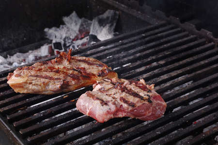 Sirloin steak prepared on the barbecue grill.  Shallow depth-of-field. Stock Photo - 9852949