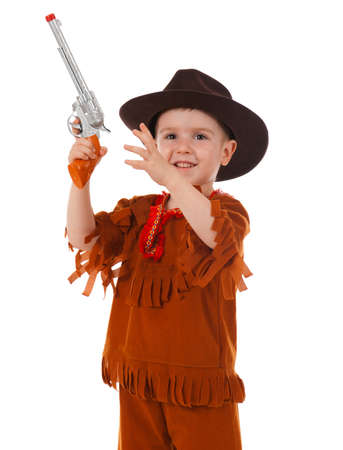 little boy wearing a cowboy hat a over white background Stock Photo - 9852973