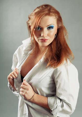 yaoung sexy redheaded girl in t shirt  photo