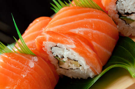 Japanese sushi  traditional japanese food.Roll made of salmon