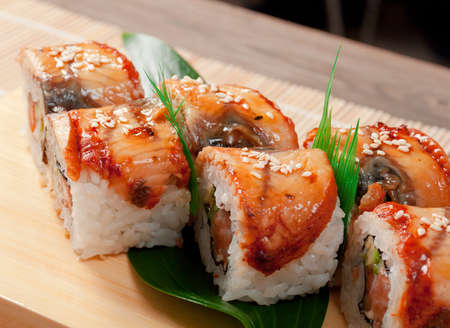 Japanese sushi maki . traditional japanese food.Roll made of Smoked eel