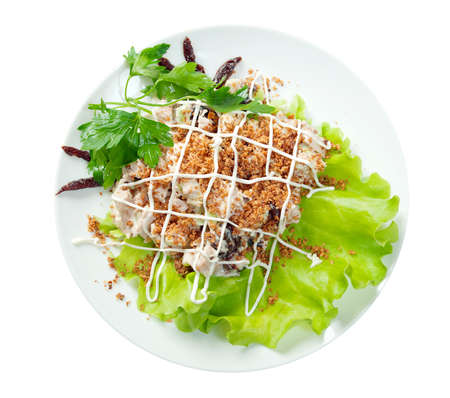 Healthy vegetarian Salad on the white plate over white photo