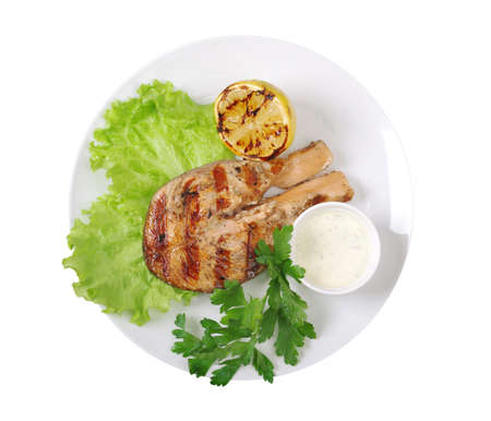 Grilled salmon steak and vegetables served on plate Stock Photo - 10045164