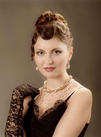 Woman retro revival portrait.Elegant women photo