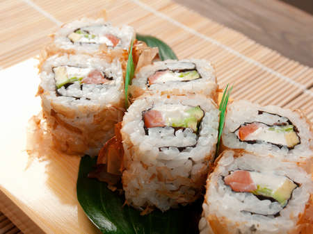 japanese culture: Japanese sushi  traditional japanese food.Roll made of Smoked fish