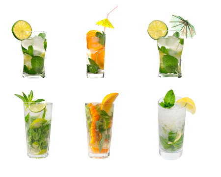 collection Mojito cocktail  .isolated on white background.clipping Path Banque d'images