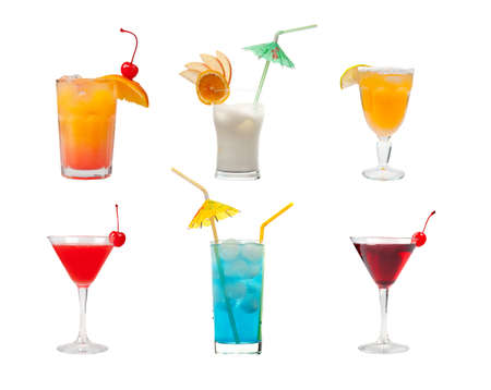 alcoholic drinks:  collection cocktail  .isolated on white background.clipping Path