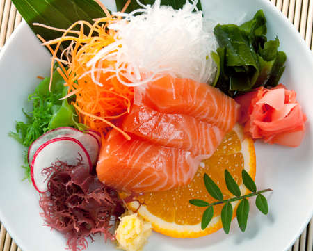 chinese  salad.Salmon with vegetables photo