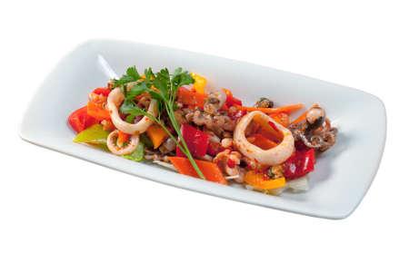 mix salad .Seafoods - Shrimps, Sea Scallops, Squids