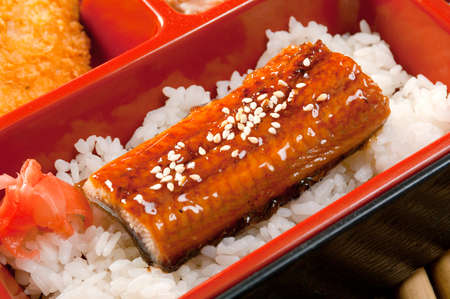 Japanese Bento Lunch .box of fast food with smoked eel