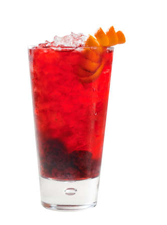 cranberry raspberry cocktail   closeup isolated on white background.