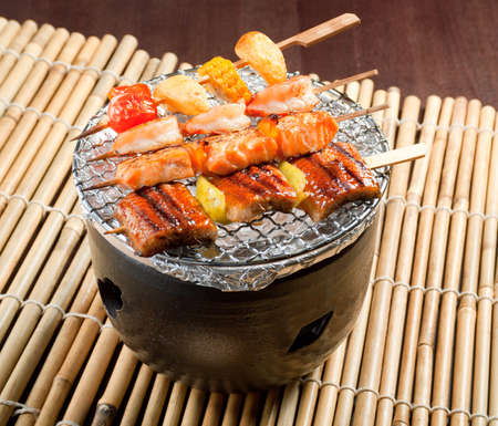 Japanese skewered  seafoods vegetables ,Yakitori  .closeup