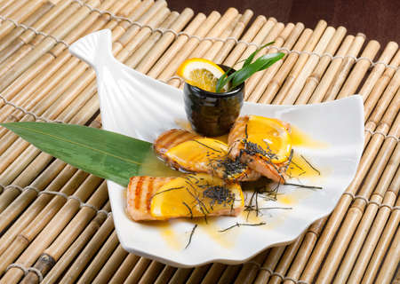 chinese cuisine .salmon with orange sauce photo