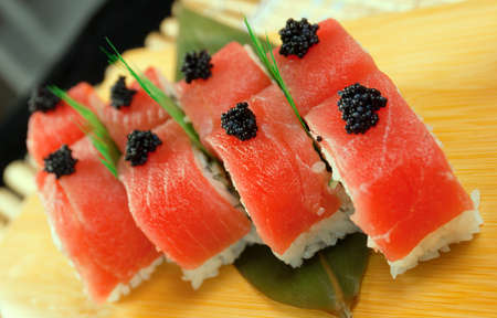 Japanese sushi . traditional japanese food.Roll made of tuna photo