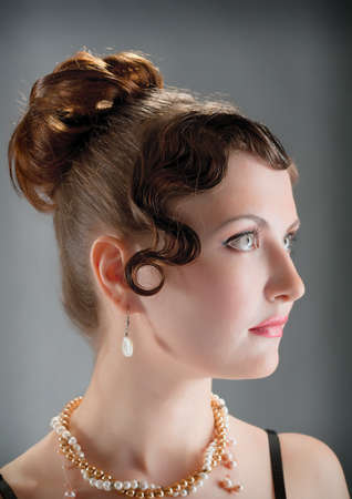 Woman retro revival portrait closeup photo
