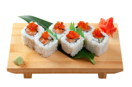 Japanese sushi  traditional japanese food.Roll made of Smoked fish and red roe Stock fotó - 10670495