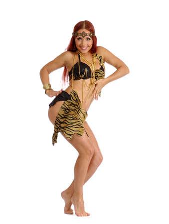 feminism: Sexy wild woman  amazon isolated on white background Stock Photo