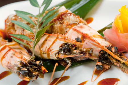 l plate: Royal tiger shrimps.Chinese style  Stock Photo