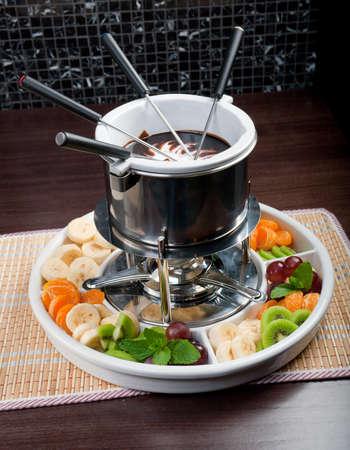 fondue with fruit photo