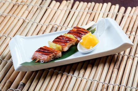 Japanese skewered  seafoods .eel photo