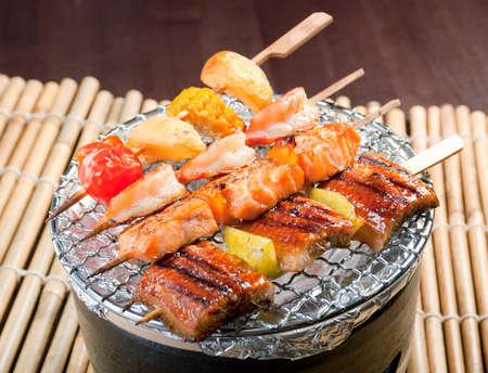 Japanese skewered  seafoods vegetables ,Yakitori  .closeup photo