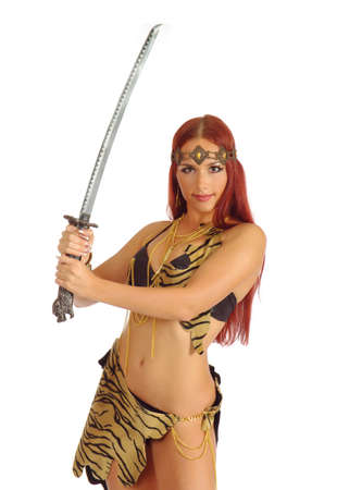 young warrior woman holding sword in her hand isolated on white background photo