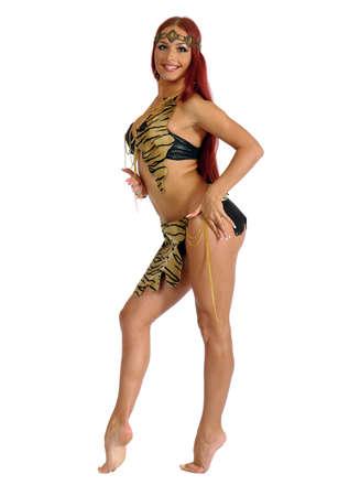 Sexy wild woman  amazon isolated on white background Stock Photo