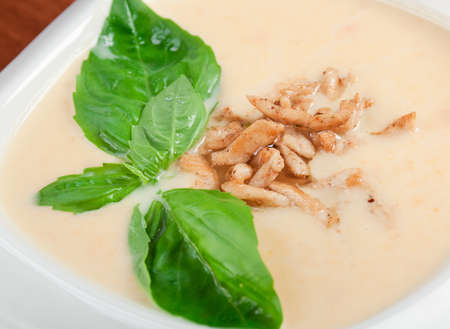 Italian cuisine.vegetable cream soup with smoked meat Stock Photo - 11156314