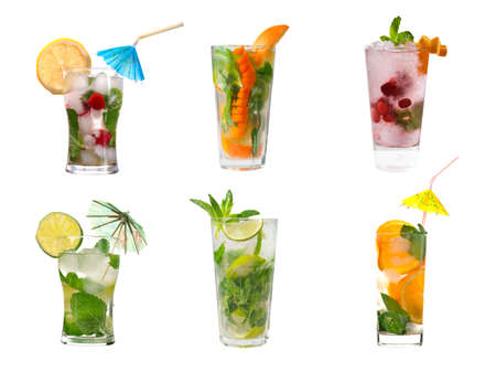 fruit drinks: collection mojito  Alcoholic cocktails .isolated on white background.