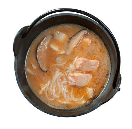 japanese  noodle soup  with salmon photo