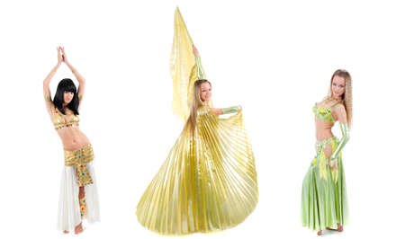 Bellydance woman in yellow egypt style. Isolated on white backgroun photo