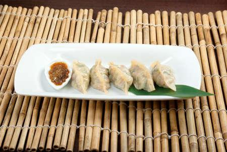Dim-sum call Gyoza, asian tradition food.Fried Dumplings Chinese Style Stock Photo - 11488836